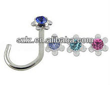 2012 the best colored screw nose rings