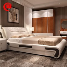 The simplicity of modern high-grade leather bed double 1.5 meters 1.8 silverskin soft bed