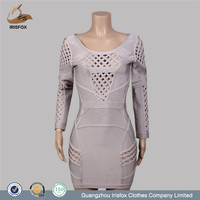 elegant long sleeve hollow out grey color evening dress