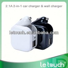 2 in 1 dual USB port wall and car new micro usb cable