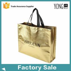 Wholesale reusable gold Metallic Color Laminated Non Woven Shopping Bag