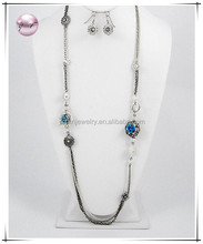 Tri-tone / Ab Glass Crystal & Blue Accents / Lead&nickel Compliant / Long Multi Row Flower Necklace & Fish Hook Earring Set