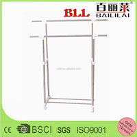retractable stackable cheap double pole stainless steel folding clothes hanger stand