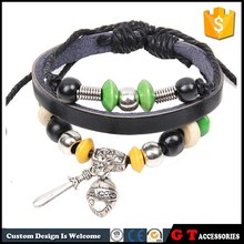 Hot Sale Vintage Personalized Helmet Knight Sword Leather Bracelet Beads, Adjustable Bracelet