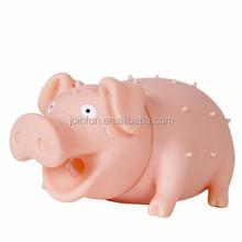 custom make pink pig figure plastic soft toys manufacture,custom make sound making soft plastic toy pig manufacturer