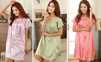 high quality cheap price silk nightgown, lady favorate silk sleepwear #OS108