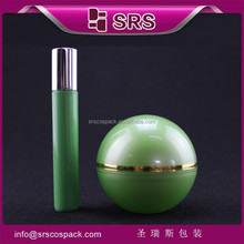 srs Alibaba China green cylinder 15ml roll on pen and ball shape painting acrylic jar with screw cap empty cream packaging