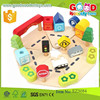 hot selling hardwood assembling toy car town & country wooden play set OEM wooden block set EZ5084