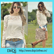 hot lace Crochet Emboridery floral long sleeve shirt,blouse,tops ,clothes ,Tees Blusas