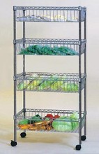 Chrome sliding filing hanging basket storage wire shelving