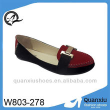American style deep red match black sexy flat shoes for women