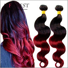Factory Wholesale Dark Root # 1B/BURG Hair Two Tone Ombre Brazilian Remy Hair Weaves