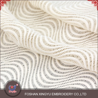 Fashion promotional custom big wave pattern casual dress white cotton lace embroidery fabric for garment