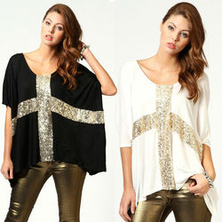 women fashion instyles summer wholesale ladies' top Leisure Cross Sequins Decor Low Round Neck Loose sexy T-shirt Cotton Tee B
