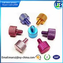 Aluminum colored anodized plastic knob screws