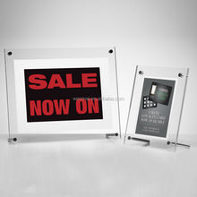 Wholesale High Quality clear acrylic photo frame with metal foot, picture frame