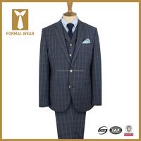 Notch lapel grey plaid latest design coat pant men suit