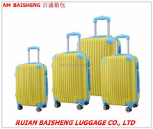 2015 new design Abs hard case luggage suitcase trolley case with zipper wheel alumunium trolley systems