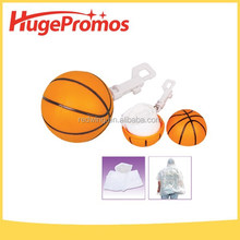 Printed LOGO Mini Plastic Disposable Basketball Raincoat Keychain for promotion