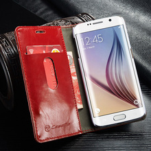 Top quality Leather Case For Samsung Galaxy S6 edge,Wallet For Galaxy S6 edge Case,For Samsung Galaxy S6 edge Flip red case