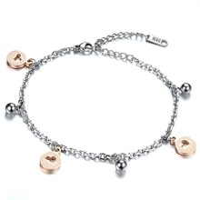 Star + Bells Pendant Woman Bracelets Romantic Silver/Rose Gold Stainless Steel Women Link Chain Jewelry Gift GS778