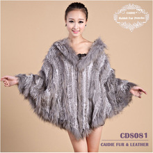 CD081 Wholesale Ladies Large Genuine Rabbit Fur Cape with Hood and Raccoon Dog Fur Trim