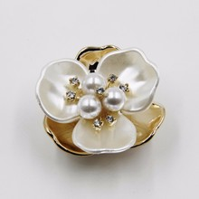 2015 wedding accessories rhinestone 37mm acrylic pearl flower head jewelry P02859