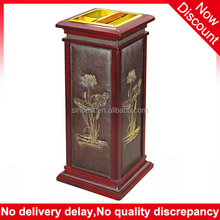 New products 2015 with emboss square lobby decoration ashtray wooden waste bin, bulk trash can