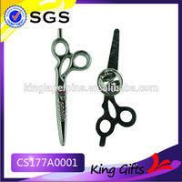 Black nickel plated barber scissor shaped silver metal lapel pin