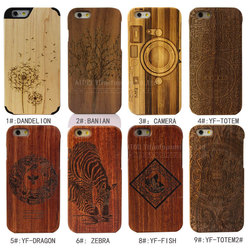 wooden hard cover for iphone6 2-pieces laser engraving mobile phone housing