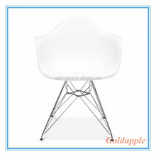Charles Eame Style Plastic White Dining Arm Chair With Eiffel Metal Legs GA6002