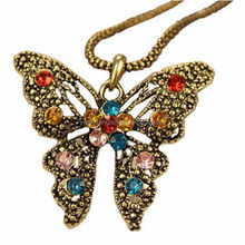 Handmade fine craft metal butterfly necklaces girls style crystal necklace