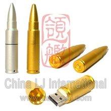 weapon usb key, Metal alloy rifle bullet shape flash memory, Gold Bullet usb flash drive
