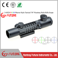 Riflescope 2-6x28 R/G/B Multi-Rail Picatinny Tactical Mount Open Turrets Long Eye Relief Tactical Scope