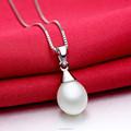 Sencillo collar colgante de plata montajes joyería de perlas aceptar