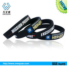 Factory Direct Sales silicone bracelet punk debossed logo color infill in Pms Color