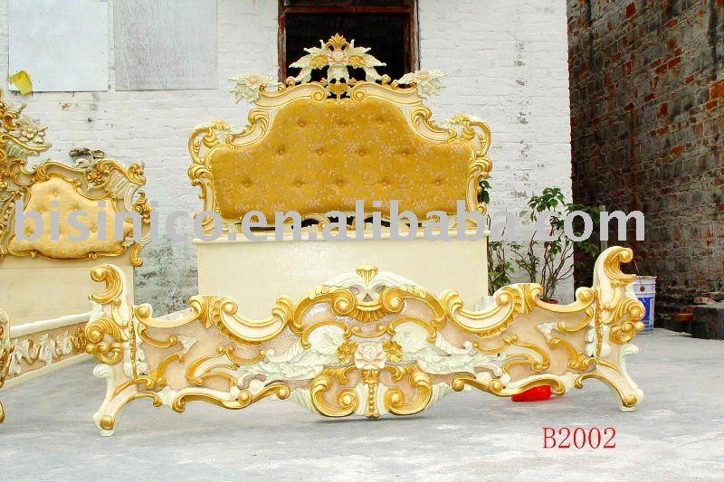 Classique et antique en bois lit de luxe, King size lit, Or couleur, Main sculpture