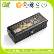 custom leather display watch boxes with 6 slots, watch packing box