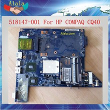 100% Working Motherboard For HP COMPAQ CQ40 Laptop AMD ddr2 Non-integrated 518147-001 Notebook Board