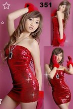 fashion red shiny sexy club dress, Sexy Costumes, sexy uniform