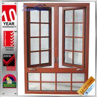 Australia AS2047 standard double glass wooden color casement window high quality thermal break aluminum window