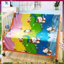 Colorful Flannel Fleece Baby Blanket with cute kitty