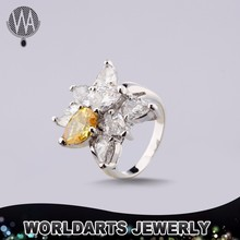 Gold Plated Copper Alloy CZ Champagne Fashion Jewells Wedding Ring
