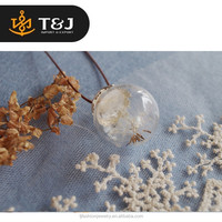 >>2015 fashion hot sale glass cover necklace dandelion glass wishing bottle leather chain pendant necklace //