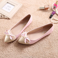 Factory Wholesale Cheap Price Women Ballet Flat Shoes pointed dolly shoe with double ribbon bowtie