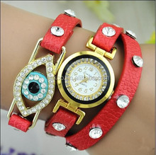 2015 New Watch Women The Latest Ladies Pu Eye Three Times Winding Watches Wholesale For Woman