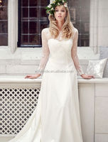 MK75 Excellent Long Sleeve Embroidered Appliqued Covered Back Muslim Wedding Dress