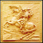 Fibra de vidro escultura de arenito parede de alívio- cavaleiro e cavalo