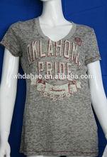 cuello v frente burnout impreso blusa de las señoras camisa de la mujer modelo