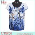 F382- 1# de gasa blanco tops y blusas de manga corta de verano florales impresos de la edad media de las mujeres blusa tamaño de europa